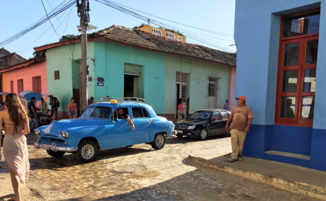 Taxi on a cobblestone street in Trinidad, Cuba (Photo by David G. Molyneaux, TheTravelMavens.com)