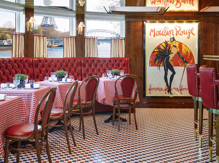 Le Bistrot is Uniworld's take on a Parisian-style sidewalk café. At the aft end of the Joie de Vivre, it is designed with windows that lower for an open-air ambiance. (Photo byUniworld Boutique River Cruises)