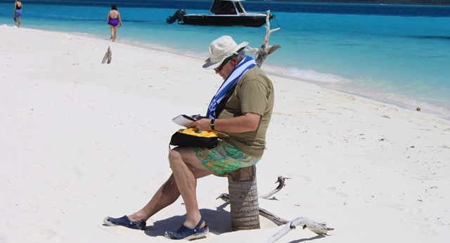 At work on Nokanhui Atoll, New Caledonia, in the South Pacific