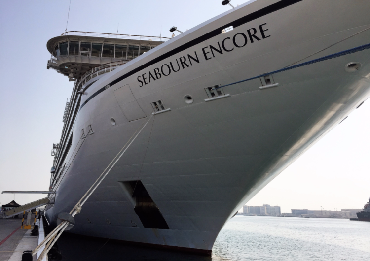 Seabourn Encore docked in Abu Dhabi, United Arab Emirates (Photo by David G. Molyneaux, TheTravelMavens.com)