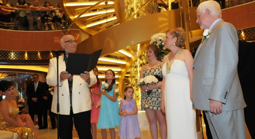 Gavin MacLeod at the wedding of Fran Golden and David Molyneaux on Regal Princess