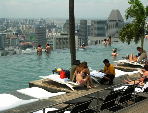 Swimming on the 57th floor in Singapore (Photo by David G. Molyneaux, TheTravelMavens.com)