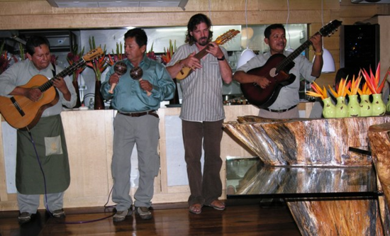Evening entertainment in the dining room of Delfin II (Photo by David G. Molyneaux, TheTravelMavens.com)