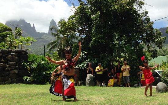 Welcome dances at the spiritual Te ava Tuu site for passengers of Aranui 3 at Hakahau on the island of Ua Pou (Photo by David G. Molyneaux, TheTravelMavens.com)