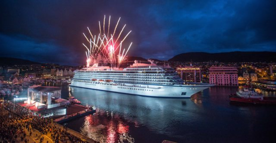 Viking Star christening, with fireworks, in Bergen, Norway