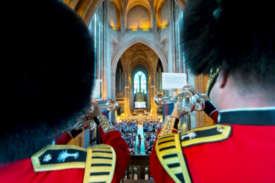 Band of the Irish Guards at Liverpool Cathedral ceremony for Cunard