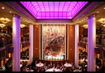 Britannia Dining Room, where a majority of passengers on Queen Mary 2 eat their dinner