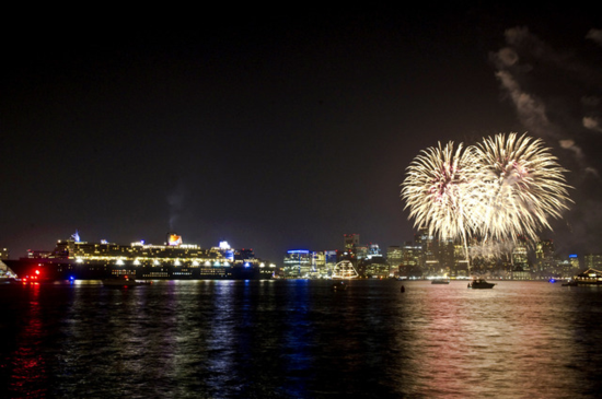Fireworks in Boston for Queen Mary 2 passengers, to celebrate Cunard's 175 years as the leader in transatlantic voyages