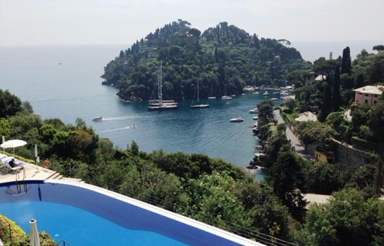 View of the harbor at Portofino, Italy, from La Terrazza restaurant at Belmond Hotel Splendido (Photo by David G. Molyneaux, TheTravelMavens.com)