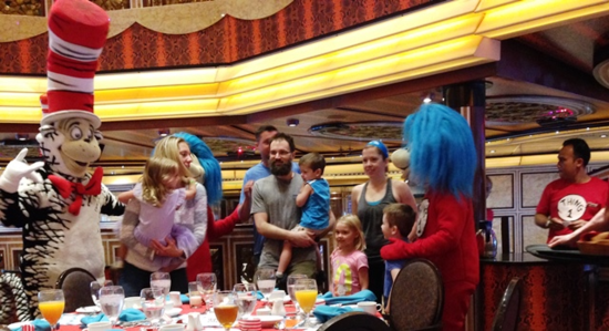 Cat in the Hat leads the Dr. Seuss character breakfast on Carnival Cruise Line's Freedom (Photo by David G. Molyneaux, TheTravelMavens.com)