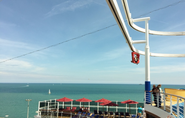 Peddling on SkyRide on Carnival Vista (Photo by David G. Molyneaux, TheTravelMavens.com)