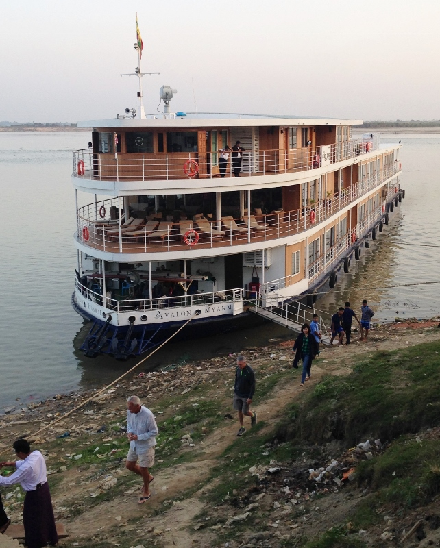 Avalon Myanmar docked at Katha, where George Orwell once worked as a policeman. His first novel, Burmese Days, was set in Katha. (Photo by David G. Molyneaux, TheTravelMavens.com)