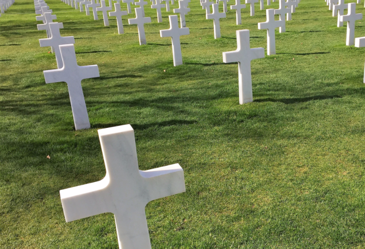 In Normandy, France, 9,387 graves are marked at the American Cemetery that overlooks Omaha Beach (Photo by David G. Molyneaux, TheTravelMavens.com)