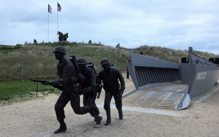 Landing craft memorial at Utah Beach, outside the World War Two museum, Sainte-Marie-du-Mont, Normandy, France (Photo by David G. Molyneaux, TheTravelMavens.com)