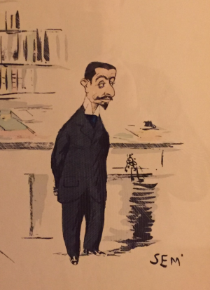 Classic caricatures from the early 1900s by artist George Goursat (known as Sem) hang on walls throughout the Joie de Vivre