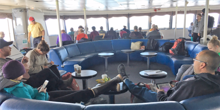 Looking forward in the observation lounge of Matanuska in Alaska's Inside Passage (photo by Fran Golden TheTravelMavens.com)