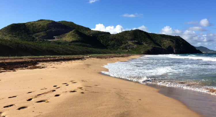 An empty St. Kitts Atlantic beach, where the only footprints were those of two passengers from the Royal Clipper (Photo by David G. Molyneaux, TheTravelMavens.com)