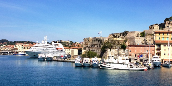 The 212-passenger Star Pride, at left, docked on Elba Island in the Mediterranean (Photo by David G. Molyneaux, TheTravelMavens.com)