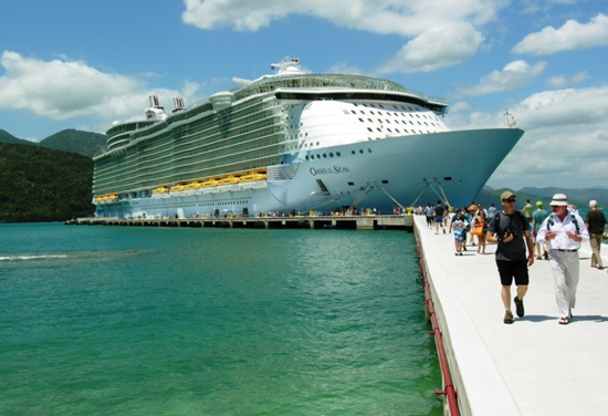 Oasis of the Seas docked for a beach day at Labadee, Haiti. (Photo by David G. Molyneaux, TheTravelMavens.com)