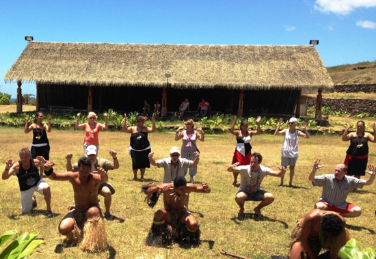 Passengers on Aranui 3 learn a local dance on remote Fatu Hiva in the Marquesas.(Photo by David G. Molyneaux, TheTravelMavens.com)