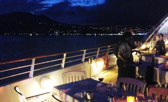 A sundeck dinner on Star Breeze off the coast of Italy (Photo by David G. Molyneaux, TheTravelMavens.com)
