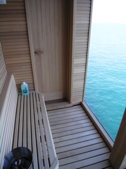 Sauna in the owner's suite (Photo by David G. Molyneaux, TheTravelMavens.com)