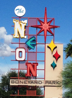 Neon Boneyard Park, operated by the Neon Museum, is crammed with old neon signs from Las Vegas, seven of which still work (Photo by David G. Molyneaux, TheTravelMavens.com)