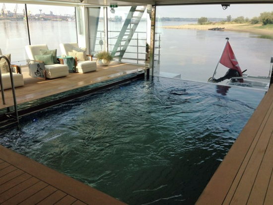 Swimming pool on the Danube River vessel, Emerald Dawn, of Emerald Waterways (Photo by David G. Molyneaux, TheTravelMavens.com)