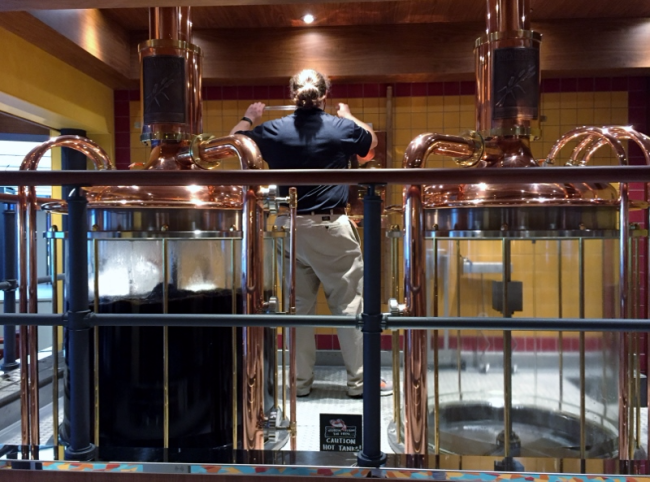 Colin Presby brewing beer on Carnival Vista (Photo by David G. Molyneaux, TheTravelMavens.com)