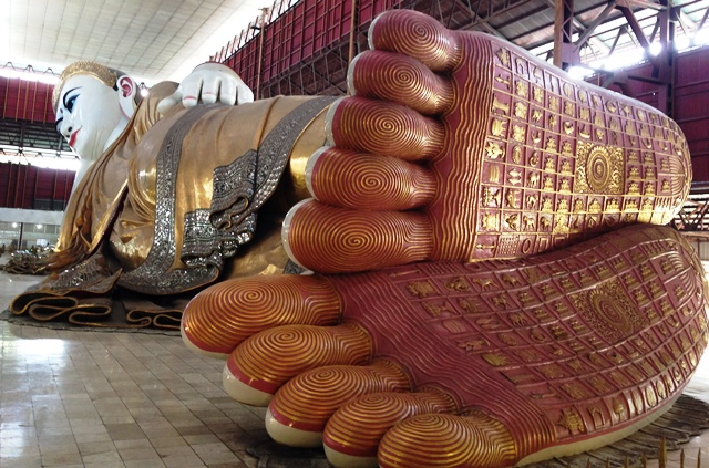 The reclining Buddha in Yangon is 217 feet long (Photo by David G. Molyneaux, TheTravelMavens.com)
