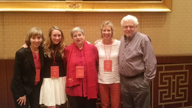 Winners of the 2016 Lowell Thomas contest at presentation in China, from left, Elizabeth Harryman, Anne Banas, Catharine Hamm and Melanie Radzicki McManus, with SATW Foundation president David G. Molyneaux