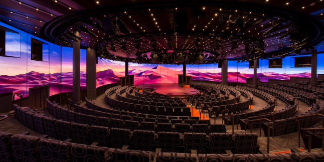 Koningsdam introduces Holland America's first World Stage, with LED screens in the background.