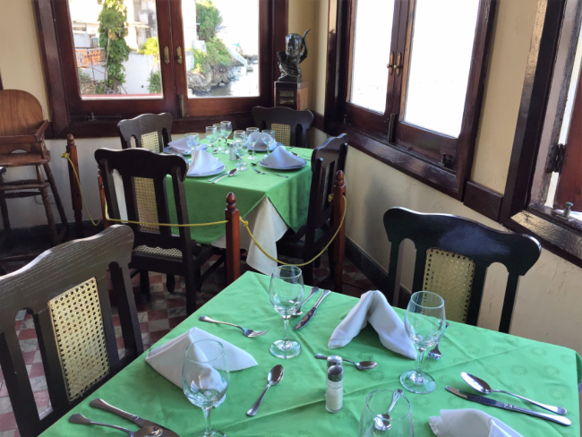 A favorite Hemingway table at La Terraza, a bar in Cojimar, a coastal village near his home