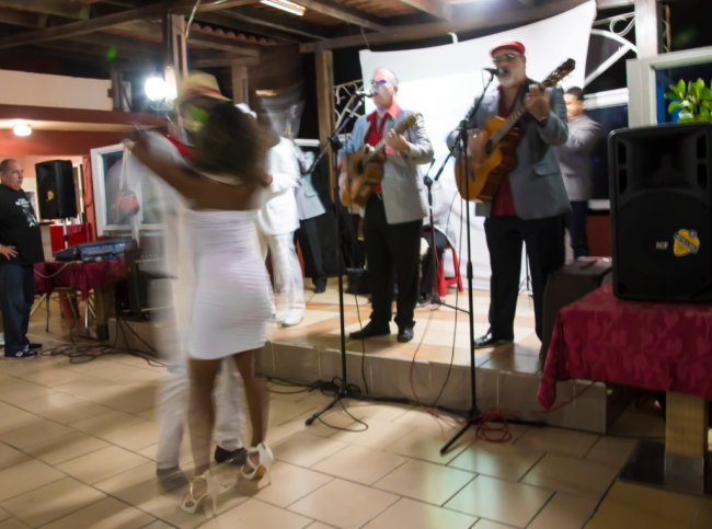Grammy-awarding-winner Septeto and dancers perform at a rooftop restaurant in Havana (Photo from Daily Expedition report by Lindblad Expeditions/National Geographic)