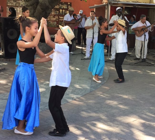 Dancing the sucusucú in Nueva Gerona, Juventud, Cuba (Photo by David G. Molyneaux, TheTravelMavens.com)