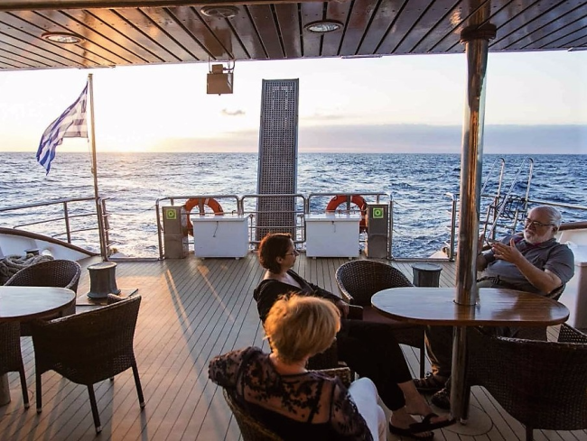 Deck at aft end of Panorama II (Photo from Daily Expedition report by Lindblad Expeditions/National Geographic)