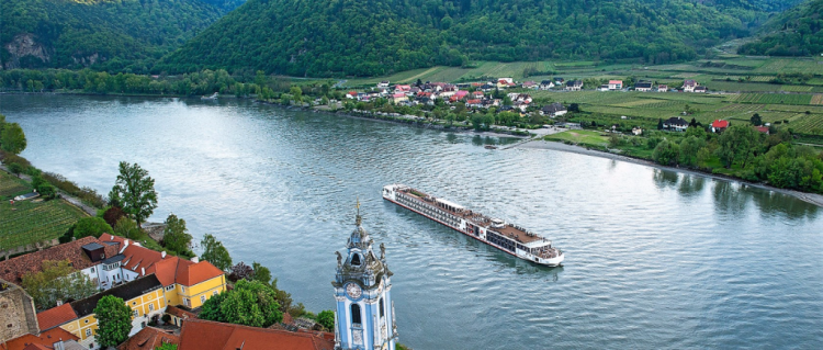 Viking River Cruises' new Viking Hild on the Danube River at Durnstein, Austria (Photo by Viking River Cruises)