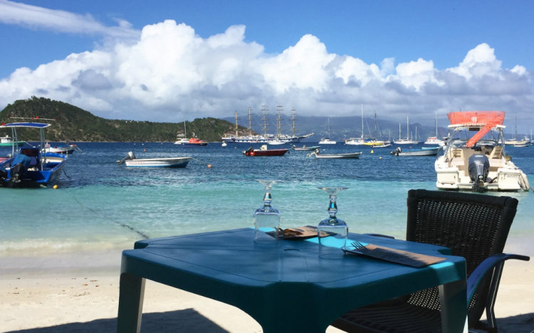 Table at Le Triangle, for a lobster lunch on the beach in Terre-de-Haut, Iles des Saintes (Photo by David G. Molyneaux, TheTravelMavens.com)