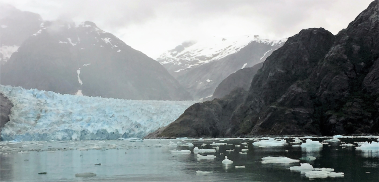 LeConte Glacier is about ½ mile away from this spot, which is about as close you want to get in a 28-foot motorboat (Photo by David G. Molyneaux, TheTravelMavens.com)