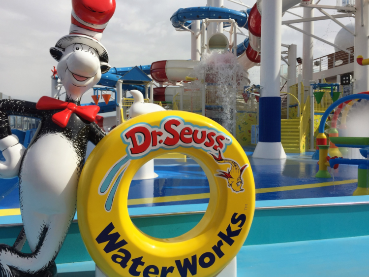Entrance to Dr. Seuss WaterWorks waterpark on Carnival Horizon (Photo by David G. Molyneaux, TheTravelMavens.com)