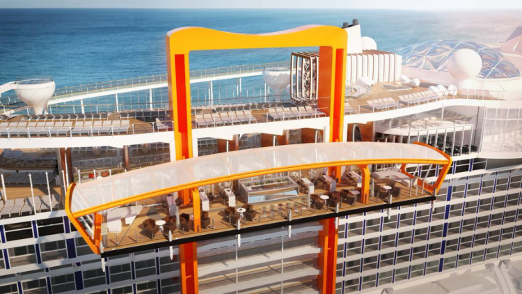 Celebrity Edge's Magic Carpet is a movable platform used for access at sea level, sipping cocktails higher up, and dining al fresco on the top deck.
