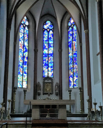 Stained glass windows by Marc Chagall in Mainz, Germany (Photo by David G. Molyneaux, TheTravelMavens.com)