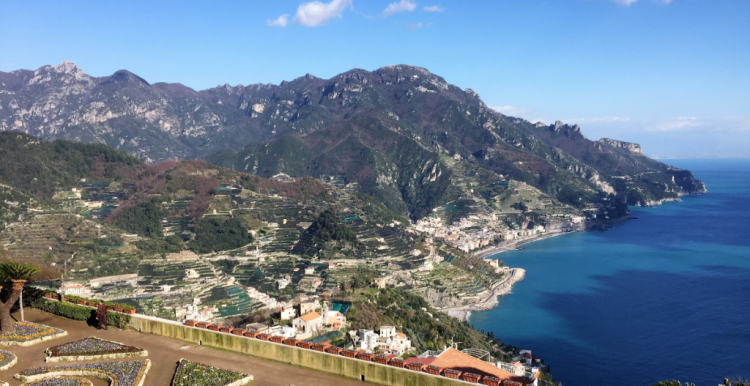 The view from Ravello, Italy, east along the Amalfi Coast to Minori, sister city Maiori, and the Amalfi Drive toward Salerno (Photo by David G. Molyneaux, TheTravelMavens.com)