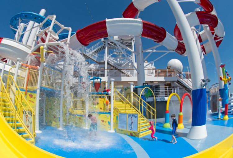 Wet children at the Dr. Seuss WaterWorks (Carnival Cruise Line)