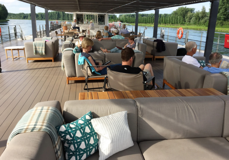 Spacious and comfy top deck of Crystal Bach, cruising on the River Rhine (photo by David G. Molyneaux TheTravelMavens.com)