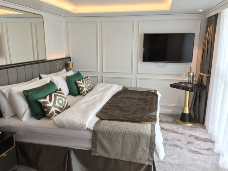 All the accommodations on the 106-passenger Crystal Bach are above water level and include a king-size bed, a walk-in closet, and a big picture window that opens as a balcony to the river. (photo byDavid G. Molyneaux, TheTravelMavens.com)