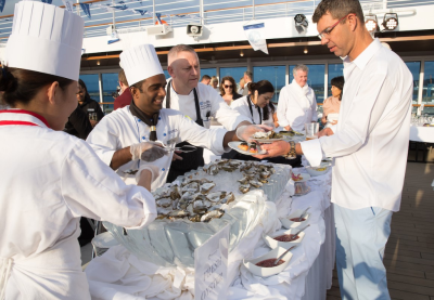 Oysters were a big hit at the white party on Azamara Pursuit in August. Photo by Azamara Club Cruises