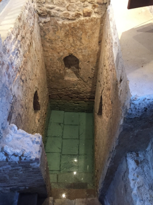 The Mikvah of Barbados, built in the 1650s, when excavated in 2008. The spring that fed the bath still is active, the water still pure. (Nidhe Israel Museum)