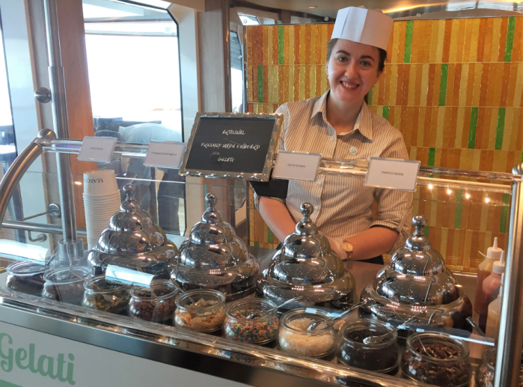 The gelato bar on Seabourn Ovation, with lots of choices, is tough to pass without a taste. (photo by David G. Molyneaux,  TheTravelMavens.com)
