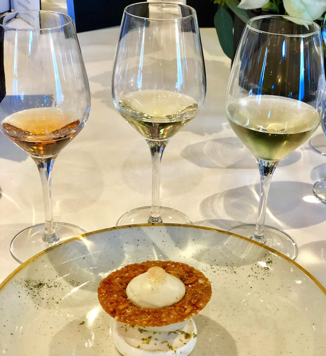 Three Dom Perignon vintage champagnes and desert on Oceania Riviera (Photo courtesy of Oceania Cruises)